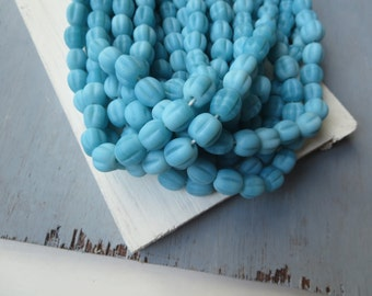 Blue Round  lampwork glass beads Matte Opaque Blue turquoise   ribbed corrugated melon glass beads  -  9  to 12 mm  / 12 pcs - 6A9-2