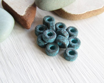 matte rondelle ceramic beads, metalized, small spacer discs washer, with green patina finish on antiqued copper 6mm x 3mm (20 beads)6asrmm-1