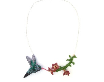 Hummingbird necklace - crochet wire hummingbird and flowers with a sterling silver chain, bird necklace, one of a kind unique jewelry