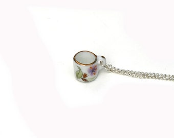 Teacup Necklace, Miniature Tea cup necklace, Afternoon Tea