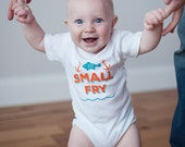 Sale Organic Small Fry Onesie, Organic Baby Bodysuit, New Baby Gift, Screen printed onesie, 3-6m, 6-12 mo, 12-18mo by Sweetpea and Co.