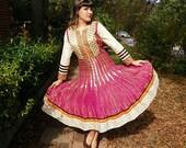 Vintage Fuchsia Gold Indian Bollywood Dress Long Sleeves Tea Length Indian Dress Full Skirt Size Small