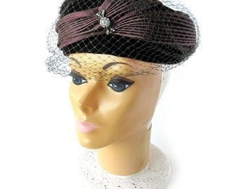 Vintage 1950s Women's Velvet Velour Hat in Rich Chocolate Brown and Netting Veil