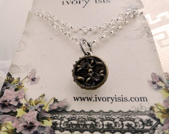 """Victorian Steel Cut Perfume Button in Sterling Silver Setting with Silver Daisies on 24"""" Silver Chain"""