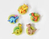 Dinosaur Magnets in Colorful Lime Polymer Clay. Nursery Room Decor for the Kitchen, Kids, School or Home Play Room Decoration. Gift Set of 5