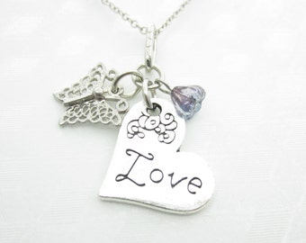 Heart Necklace, Love Necklace, Engraved Heart, Silver Heart Necklace, Butterfly and Heart Necklace X011