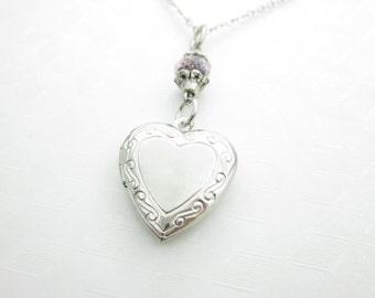 Heart Locket Necklace, Silver Victorian Keepsake Pendant, Heart Charm with Pink Crystal - X034