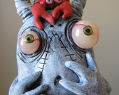 lowbrow one of a kind figure  monster by mealy monster land crab problems