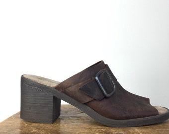 Vintage BLOCK Heel Mules •1990s Womens Shoes • Size 9.5 9 10 Modern Chunky Brown Suede Leather Buckle Slip On 90s Nineties Platform