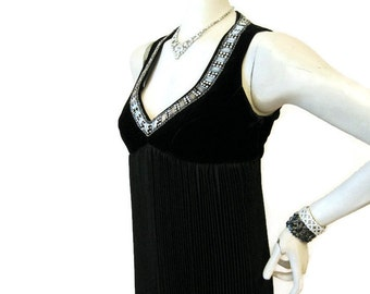 Vintage Gown Rhinestone Plunging Neckline Accordian Skirt Evening Dress M L