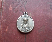 sacred heart jesus sterling charm with virgin mary - art nouveau relief pendants antique vintage catholic pendant