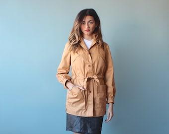 camel trench coat / short trench coat / 1980s / small - medium