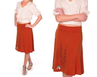 Lovely Gift for Mother, Midi Jersey skirt, A-line skirt Knee length skirt, Plus size Burnt orange skirt, Applique skirt - Little house