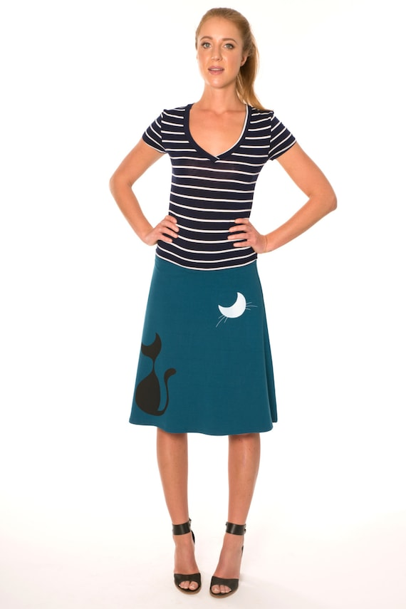 Midi Cotton Skirt, Women Jersey Skirts, Gift for Mother, Teal Blue a line skirts knee length, Cute Skirts, Knit Skirt - Our cat and the moon