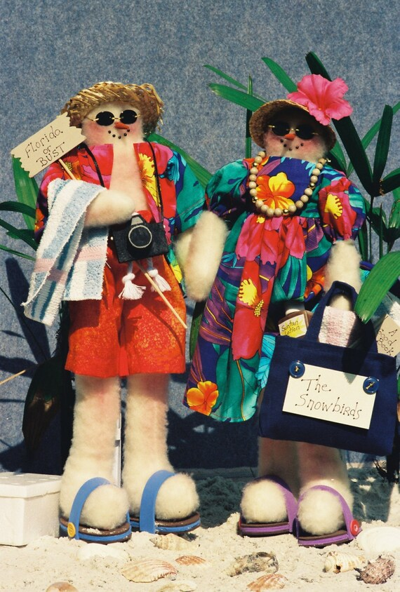 Mailed Cloth Doll Pattern Comical Tourist Snowman Couple