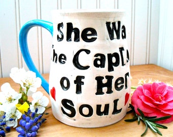 She Was The Captain Of Her Soul Large Coffee Mug - HandMade Hand Painted Sailboat, Ocean Sea Guiding Star, William Faulkner Quote Coffee Mug