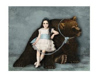 Bear Print Digital Art Blue and White Brown Surreal Home Decor Pet