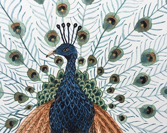 Peacock, bird art, art original watercolor painting