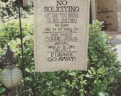 Garden Flag - embroidered on burlap - No Soliciting