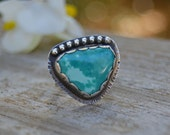 Turquoise Ring. Unique Sterling Silver Natural Turquoise Statement Ring. Boho Chic Jewelry. Size 6.75