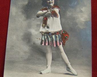 1900's Entertaining Young Ballerina Girl - Postcard