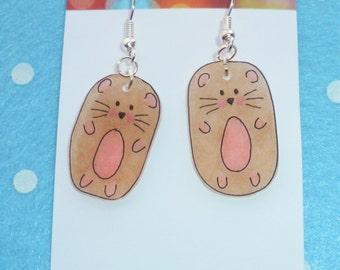 Adorable Little Hamster Earring - Light Brown