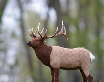 Needle Felted Elk  | Wildlife sculpture | felted animal