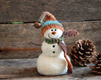 Snowman - handmade - needle felted- one of a kind -  725