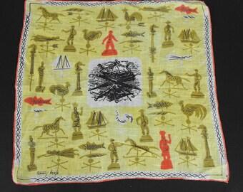 Vintage Tammis Keefe Statues Weathervanes Fish Boats Print Handkerchief