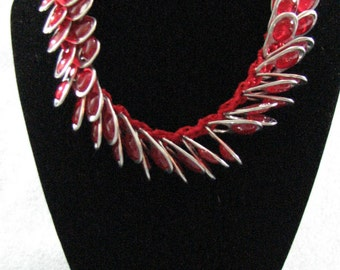 Red Ribbon with Red Jewel Pop Tab Necklace