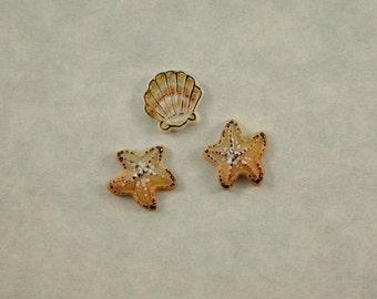 Starfish and Shell Embellishment set of 3