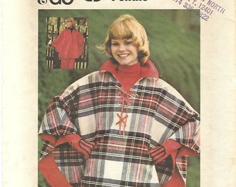 1970s Butterick 3825 UNCUT Vintage Sewing Pattern Misses Reversible Poncho Size Small
