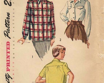 1940s Simplicity 2684 Vintage Sewing Pattern Misses Blouse, Shirt, Sports Shirt Size 12 Bust 30, Size 14 Bust 32, Size 16 Bust 34