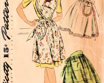 1940s Simplicity 4825 FF Vintage Sewing Pattern Misses Full Aprons Half Apron Size Medium
