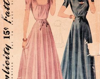 1940s Simplicity 3780 Vintage Sewing Pattern Misses Dance Frock, Formal Dress, Evening Dress Size 20 Bust 38