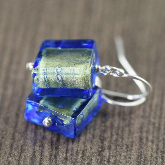 Blue glass earrings and gold Murano glass earrings Venetian glass, Italy