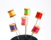 Tiny Miniature Sewing Thread Spool Pin Topper Set of 6 Vintage look