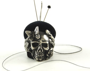 Skull with Rose and Butterfly Stainless Steel Ring Pincushion