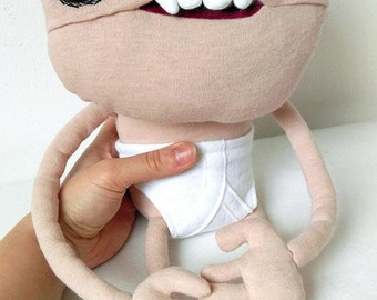 Plush monster goblin pink soft toy in pants OOAK