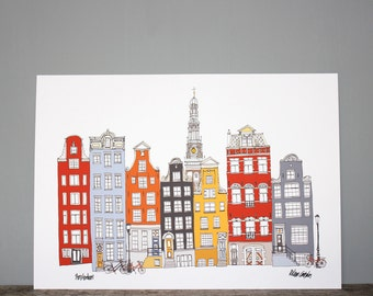 Amsterdam City Print - A3 Illustration - Amsterdam Wall Art - Amsterdam Skyline - Gifts for Him - Home Decor - Netherlands Print