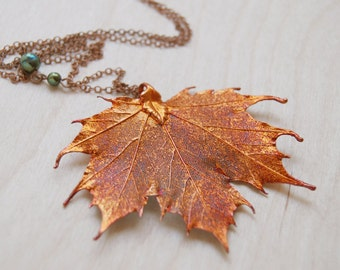 Large Fallen Copper Maple Leaf Necklace - REAL Maple Leaf