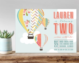 Hot Air Balloon Birthday Invitation, PRINTABLE, Hot Air Balloon Invitation, Balloon Birthday Invitation, Hot Air Balloon shower invitation