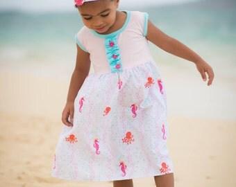 Girls Summer Dress - Girls Beach Dress - Seahorse Dress