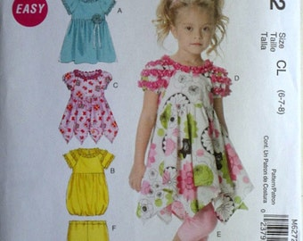McCall's 6272 Sewing Pattern, Girls' Dresses And Leggings, Size 6-7-8, Uncut FF