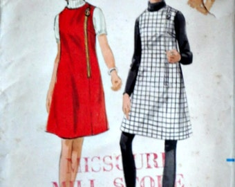 Vintage 60's Butterick 4687 Sewing Pattern, Misses One-Piece A-Line Jumper, Size 14, 36 Bust, Retro Mod
