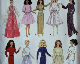 "Simplicity 9838 Craft Pattern, Design Your Own Wardrobe For 11 1/2"" Fashion Barbie Doll, Uncut FF, Easy"
