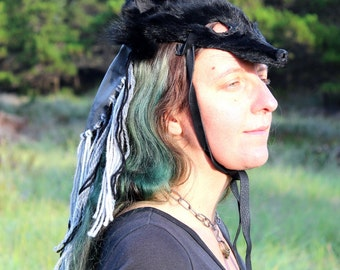 Black dyed coyote headdress with gray leather, orthoceras fossil, yarn tassels - creative tribal fusion paagan ritual  and more one size
