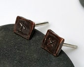Small Dark Brown Black Copper Studs, Men's Industrial Studs, Women's Post Earrings, Dark Medieval Oxidized, Distressed, Rustic Urban Jewelry