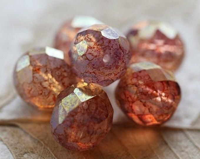 sale .. PINK CASHMERE .. 6 Premium Czech Opal Glass Beads 12mm (4655-6)