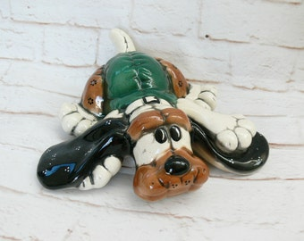 Vintage 80s Calico Patchwork Clumsy Puppy Hound Dog Playing Novelty Ceramic Pottery Figurine Shelf Art